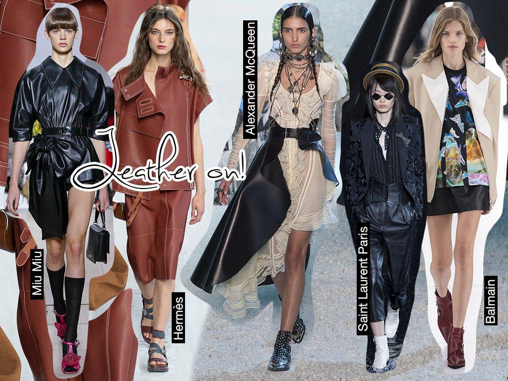 316b6fb66 Leather On التصاميم الجلديّة ستنتقل معكِ من الخريف إلى الربيع! ستجدينها  بمختلف الأشكال والألوان، وستلاحظين أنّ العديد من دور الأزياء قدّمتها  التصاميم ...