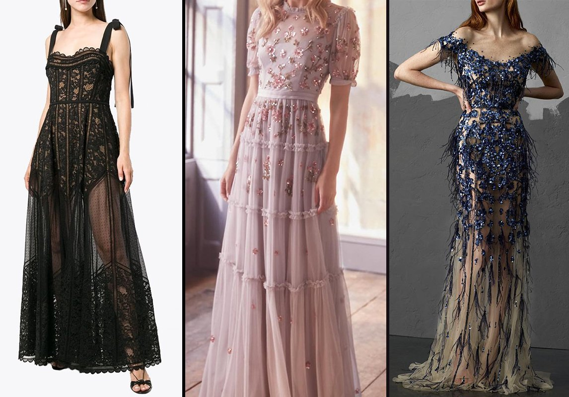 65590db8e8257 من اليمين إلى اليسار  فستان سهرة من Pamella Roland وNeedle and Thread  London وElie Saab