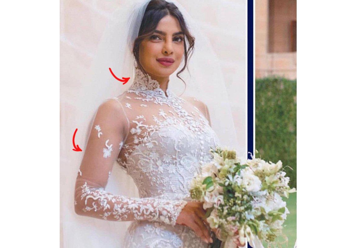 7bb216cbece41 فستان زفاف بريانكا شوبرا الأسطوري، لم يجذب الجميع لما فيه من إبداع في  التصميم والخياطة فقط، بل أيضاً من ناحية العبارات الخفيّة التي تتضمنها.
